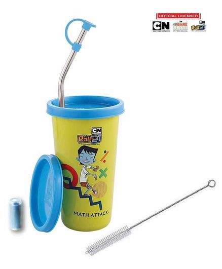 Falcon Steel Straw Sipper Glass With Lid Roll No 21 Print Blue Green - 370 ml