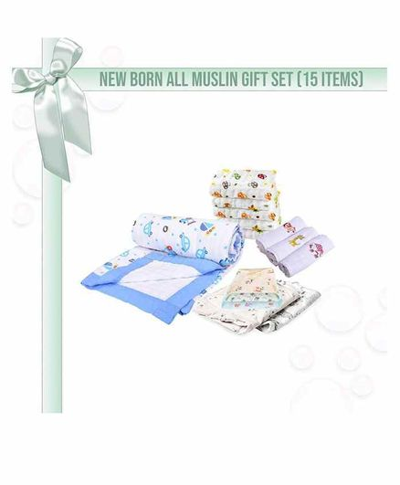 Mom's Home 15 Piece Muslin Clothing Gift Set - Blue White