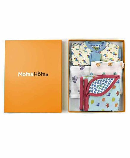 Mom's Home New Born Baby Essentials Gift Combo Box - Multicolour