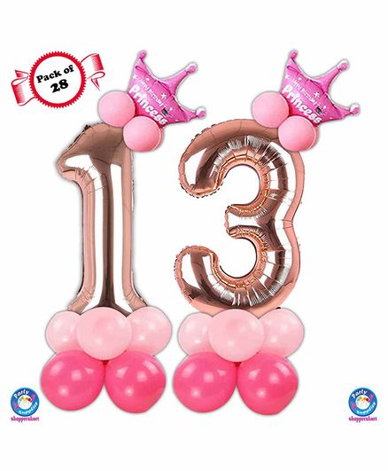 Shopperskart 13th Birthday Balloon Decoration Kit Rose Gold - Pack of 28