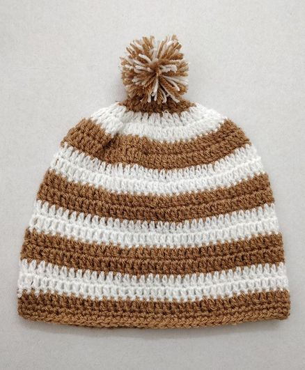 Knit Masters Striped Pattern Pom Pom Cap - Biege & White