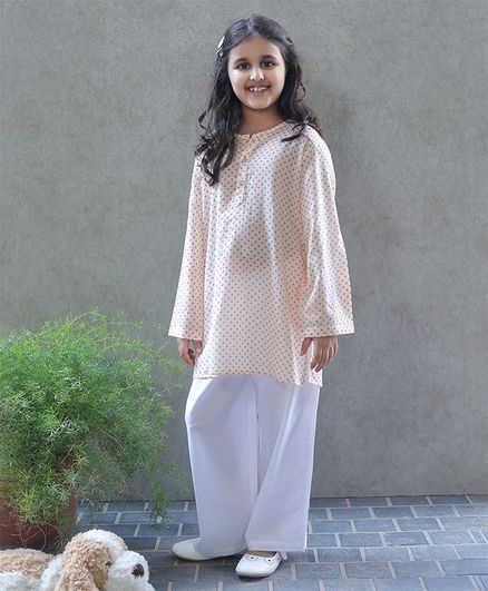 Bellazaara Full Sleeves Polka Dot Print Kurti With Pajama - Peach