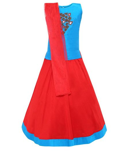 Aarika Sleeveless Bead Embellished Choli With Lehenga & Dupatta - Blue