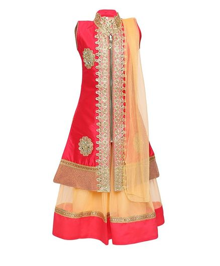 Aarika Sleeveless Embroidered Long Jacket & Lehenga & Dupatta Set - Pink