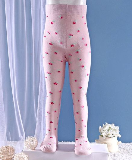 Mustang Footed Tights Floral Design  - Yellow