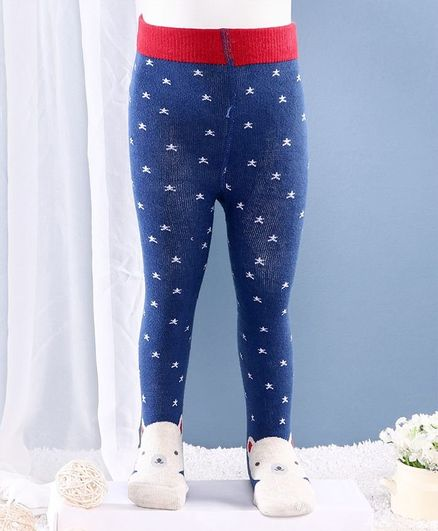 Mustang Footed Tights Bear Design - Blue