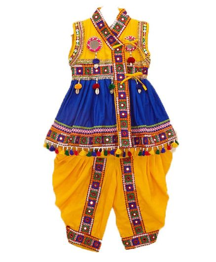 Banjara India Sleeveless Mirror Work Embroidered Kedia Set - Blue