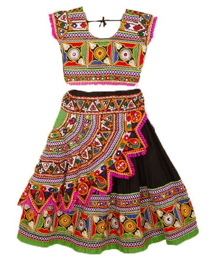 Banjara India Kutchi Embroidered Short Sleeves Ghagra Choli - Black