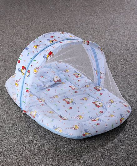 Mosquito Net with Mattress and Pillow Puppy Print - Blue