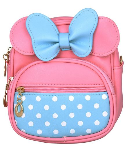 Asthetika Double Bow Polka Dot Print Backpack - Pink & Blue