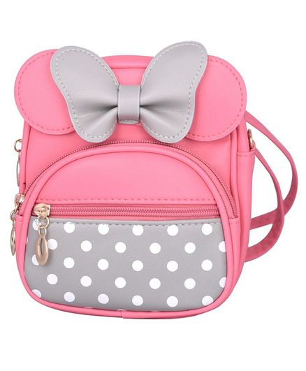 Asthetika Double Bow Polka Dot Print Backpack - Pink & Grey