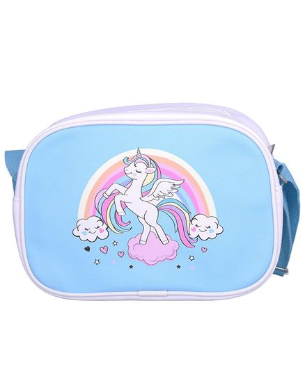 Asthetika Unicorn Print Messenger Bag - Blue