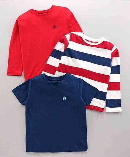 Pine Kids Full & Half Sleeves Solid & Striped Tee Pack of 3 - Red Navy Blue