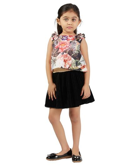 PinkCow Sleeveless Floral Print Ruffle Detailing Top - Pink