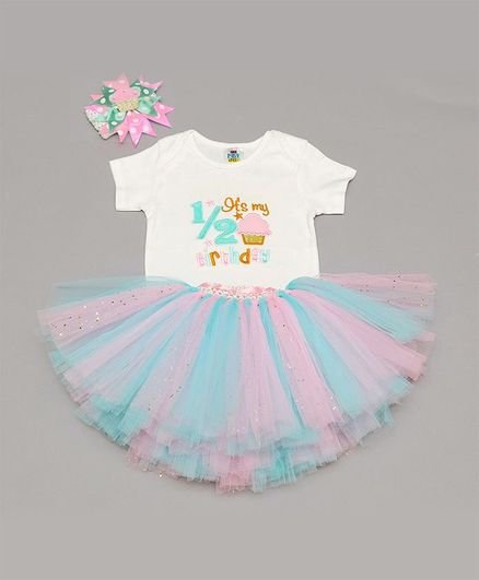 TINY MINY MEE Half Sleeves Its My Birthday Embroidered Onesie With Skirt & Headband- White