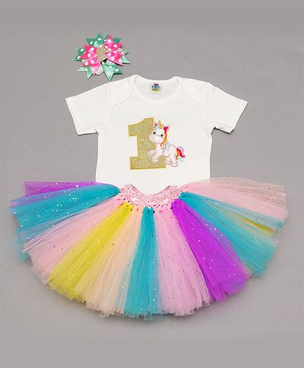 TINY MINY MEE Half Sleeves Unicorn Patch Onesie With Skirt & Headband - Multi Color