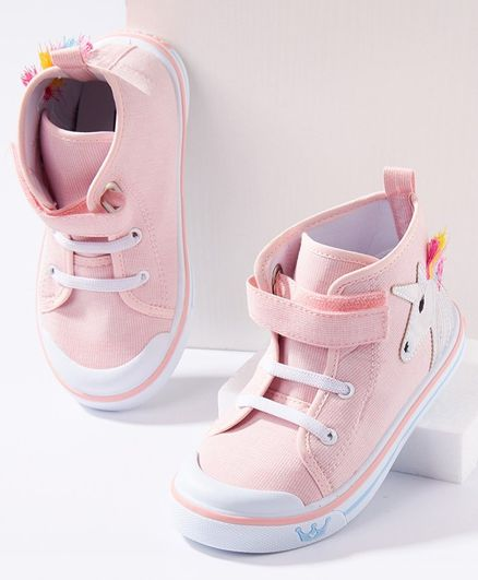 Cute Walk by Babyhug Ankle Length Casual Shoes Unicorn Patch - Pink
