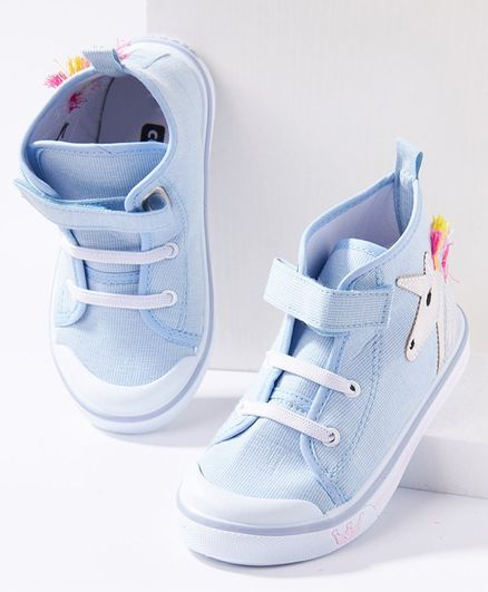 Cute Walk by Babyhug Ankle Length Casual Shoes Unicorn Patch - Blue