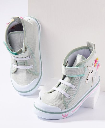 Cute Walk by Babyhug Ankle Length Casual Shoes Unicorn Patch - Green