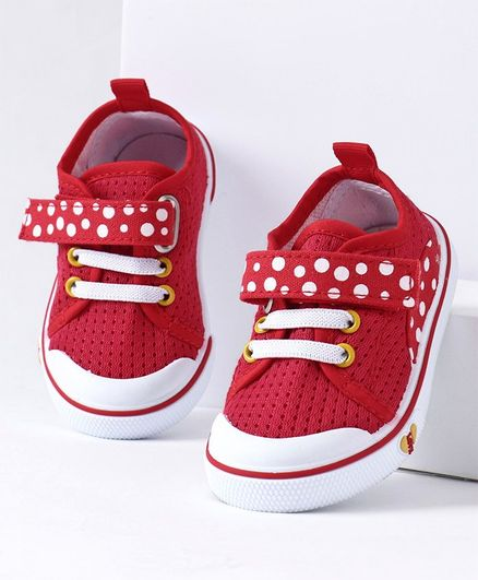 Cute Walk by Babyhug Casual Shoes Polka Dot Print - Red