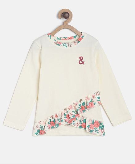 Tales & Stories Full Sleeves Floral Print Top - Off White