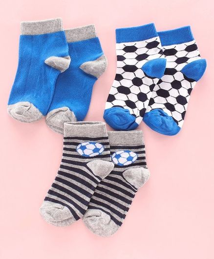 Mustang Ankle Length Socks Pack of 3 - Grey Blue