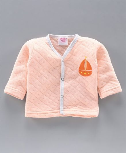 Tappintoes Full Sleeves Quilted Winter Wear Vest Boat Patch - Peach