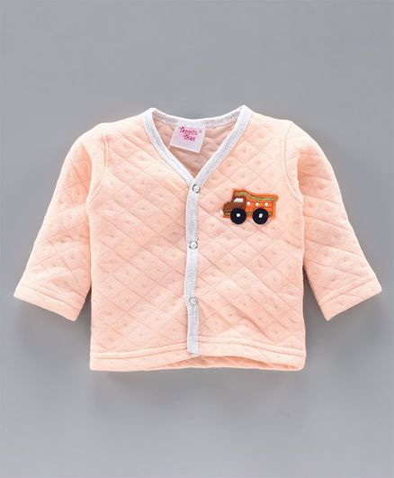 Tappintoes Full Sleeves Quilted Winter Wear Vest Star Patch - Peach