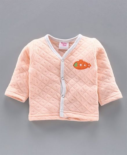 Tappintoes Full Sleeves Quilted Winter Wear Vest Aeroplane Patch - Peach
