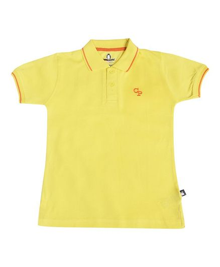 Crazy Penguin Solid Half Sleeves Tee - Yellow