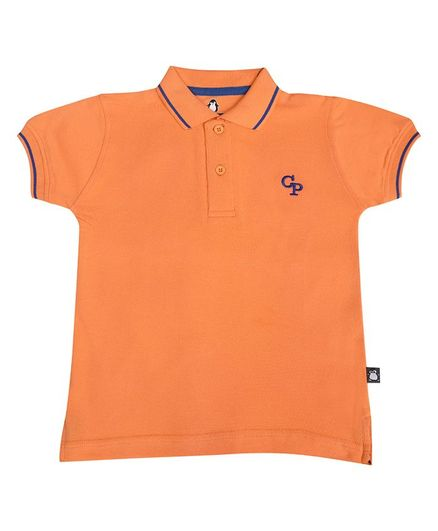 Crazy Penguin Solid Half Sleeves Tee - Orange