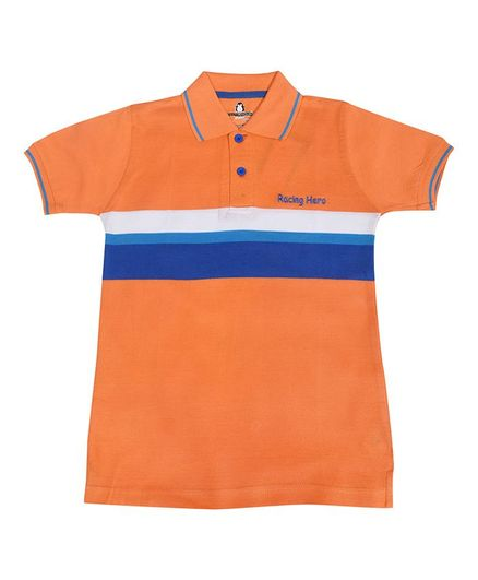 Crazy Penguin Color Block Half Sleeves Polo Neck Tee - Orange