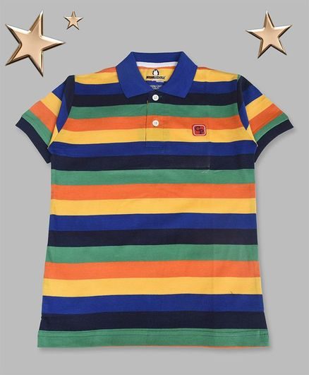 Crazy Penguin Striped Half Sleeves Polo Neck Tee - Multi