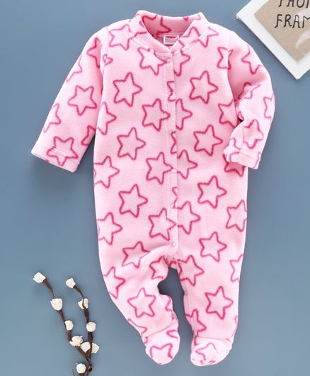 Babyhug Full Sleeves Velour Sleepsuit  Star Print - Pink