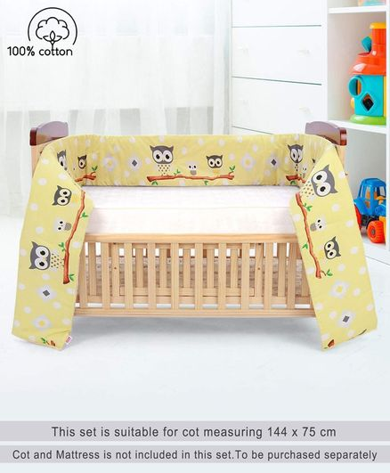 Babyhug Crib Bumper Owl Print Large - Yellow (Cot not Included)