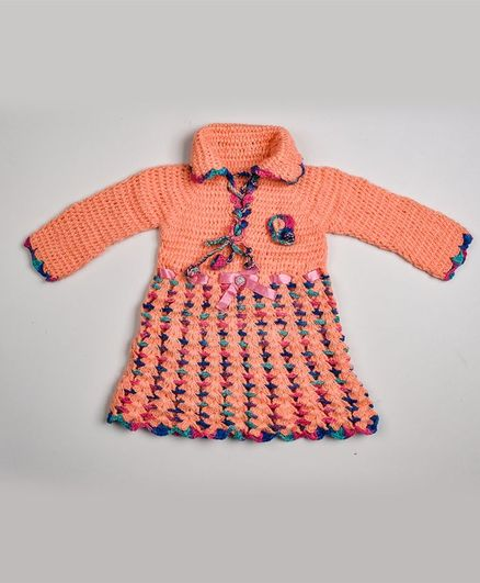 My Meo Full Sleeves Collared Winter Dress - Peach