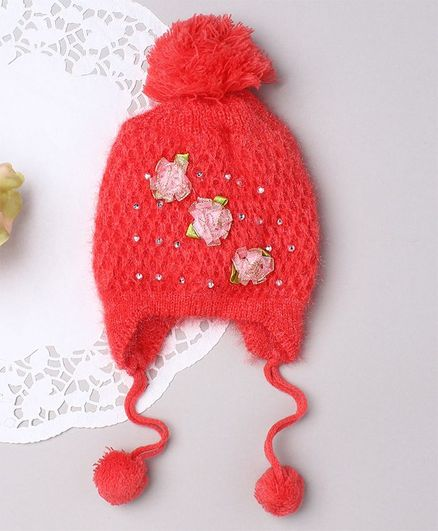 TMW Kids Honeycomb Knit Shimmer Woolen Pom Pom Cap With Satin Flower - Peach