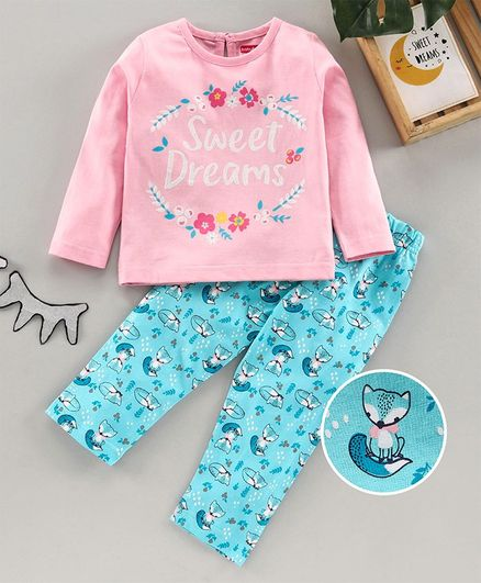 Babyhug Full Sleeves Night Suit Animal Print - Pink Blue
