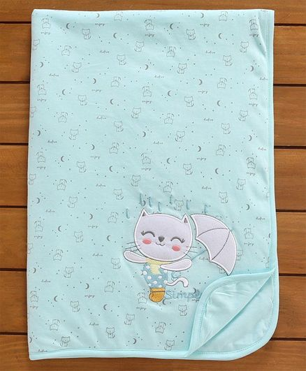 Simply Baby Wrapper Kitty Embroidery - Blue