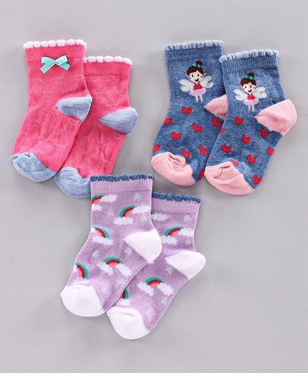 Mustang Ankle Length Socks Multi Design Set of 3 Pairs - Pink Blue Purple