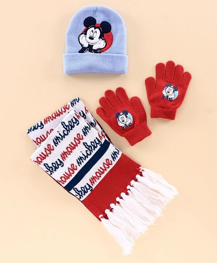 Disney Mickey Mouse Woollen Cap Set - Blue Red