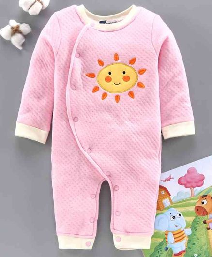 Mom's Love Full Sleeves Romper Sun Embroidery - Light Pink