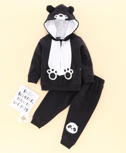 Mom's Love Full Sleeves Hooded Winter Wear Suit Panda Embroidery - Black