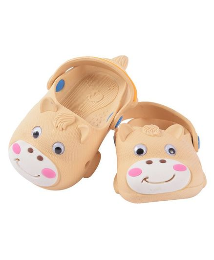 Yellow Bee Cow Pattern Clogs - Beige
