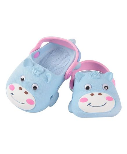 Yellow Bee Cow Pattern Clogs - Light Blue