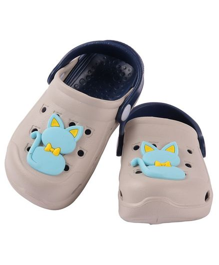 Yellow Bee Kitty Detailed Clogs - Grey & Navy