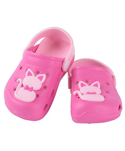 Yellow Bee Kitty Detailed Clogs - Dark Pink