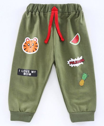 Ojos Full length Lounge Pant Fruit Print - Olive Green