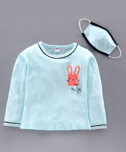 Ojos Full Sleeves Tee with Mask Bunny Print - Sea Green