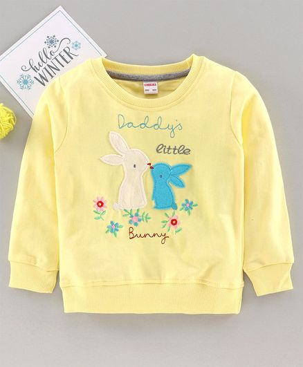 Ojos Full Sleeves T-Shirt Bunny Patch - Yellow